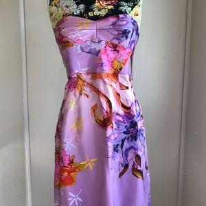 Ali Ro 100% Silk Printed Strapless Dress Size 8